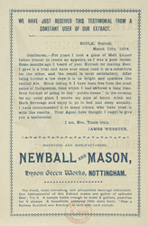 Advert for Mason's Extract of Herbs, reverse side